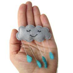 Grey Rain Cloud Felt Brooch with Blue Raindrops Sleepy Contented Cloud Brooch $21.66