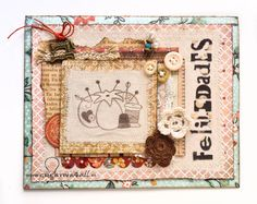 Tarjeta cumpleaños pincushion Tarjeta scrapbooking costura Sewing card scrapbooking #scrap, #scrapbook, #card, #tarjeta www.creativa4all.es