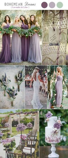 Rustic Chic Lavender and Lilac Bohemian Wedding Color Palettes