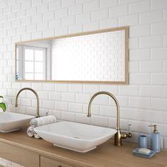 Matt white Biselado Brillo is a Metro bevel edge, brick ceramic matt wall tile by Salcamar Vilar. Size 10 x 20 cm or 4 x 8 inch bevelled. Metro Tiles Bathroom, Bathroom Wall, Bathroom Ideas, Brick Tiles, Brick Wall, Tile Trim, Ceramic Wall Tiles, White Tiles, Traditional Bathroom