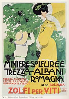 Sulfur Mining, Trezza - Albani Romagna poster by Marcello Dudovich Advertising Slogans, Advertising Poster, Vintage Advertisements, Vintage Ads, Vintage Italian Posters, Poster Vintage, Poster Ads, Vintage Typography, Vintage Prints