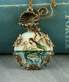 Mermaid Necklace Seahorse Necklace Oyster Brass Filigree Vintage Style Seashell Altered Art $35.00