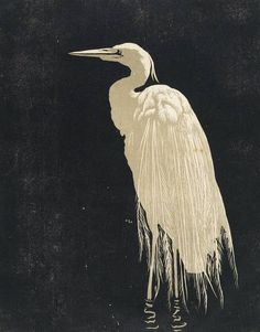 Walther Klemm (1883 -1957) Heron, 1910. Woodcut. ***yesterday, a heron slowly stalked my place before the little lake...didn't see me watching quietly***down into the marsh he strode on stilts in silence, oh so softly shhhhh...15.9.14