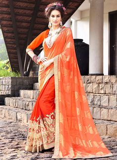 Buy Renowned Faux Georgette Designer Half N Half Saree  #sarees #saree #sari #designersaree #sareebuzzlove #sareebuzz #weddingsarees #weddingfashion