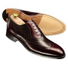 Cherry Bathurst calf leather brogue shoes | Men's business shoes from Charles Tyrwhitt, Jermyn Street, London