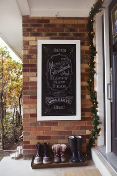 Make a chalkboard welcome sign for the front door. Easily updated for any occasion.