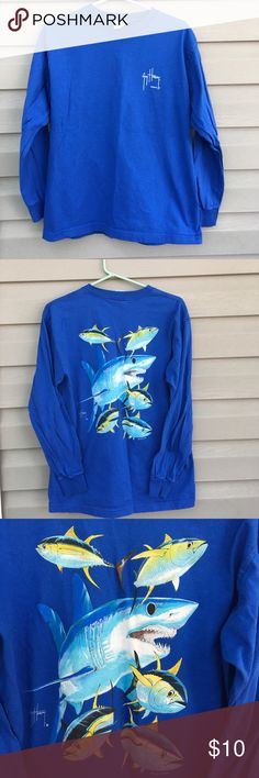 Guy Harvey boys long sleeve blue shirt Nice long sleeve shirt, like new with shark and fish on back.100% cotton, no stains or holes Guy Harvey Shirts & Tops Tees - Long Sleeve