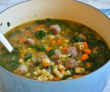 Ina Garten uses chicken meatballs and vegetables in her version of classic Italian Wedding Soup, from Barefoot Contessa on Food Network. Beef And Pork Meatballs, Escarole Soup, Slow Cooker, Italian Wedding Soup Recipe, Sage Sausage, Seasoned Bread Crumbs, Homemade Soup, Vegan, The Fresh