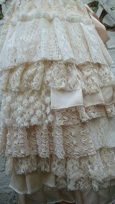 Upcycled Skirt Woman's Clothing Cream Champagne by BabaYagaFashion