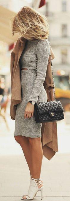Grey Plain 2-in-1 Fashion Midi Dress
