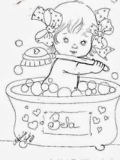 Baby in bath Hand Embroidery Designs, Vintage Embroidery, Embroidery Patterns, Coloring Book Pages, Copics, Coloring For Kids, Digital Stamps, Art Sketchbook, Fabric Painting
