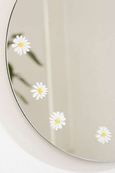 Slide View: Daisy Round Mirror decor diy Home Décor + Apartment Sale Mirror Painting, Mirror Art, Diy Mirror, Mirror Decal, Aesthetic Painting, Aesthetic Room Decor, Diy Room Decor, Bedroom Decor, Home Decor