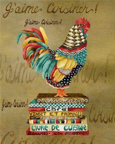 Art Print. Gourmet Rooster Jaime Cuisiner por studiopetite en Etsy