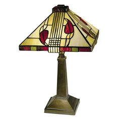 This is the accent lamp member of the Henderson family. The design consists of deep burgundy leaves on a beige background. The design is criss-crossed with vertical and horizontal lines--very Craftsman. Bottom border of the shade alternates green and burgundy glass.