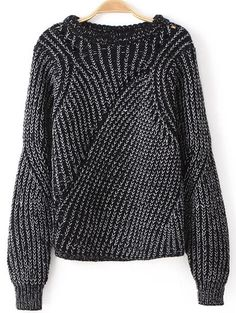 Black Long Sleeve Hollow Knit Loose Sweater pictures