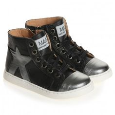 "Black Leather High-Top Star Trainers ""MAA SHOES"""