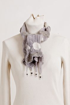 Nuno felting, alpaca and bunny fur, with crystal beads, worn close to neck to keep warm, Beech Hill