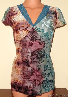 Junior's Medium Rue 21 Flocked Shirt Babydoll Teal & Brown Floral #rue21 #Tunic #Casual