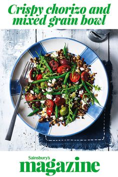 Looking for a quick and easy meal for one? Our crispy chorizo and mixed grain bowl recipe is full of Mediterranean flavour, including olives, feta and pomodorino tomatoes. Pork Recipes, Lunch Recipes, Salad Recipes, Cooking Recipes, Breakfast Recipes, Midweek Meals, Weeknight Meals, Easy Meals, Healthy Eating Recipes