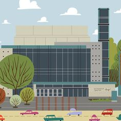Winspear Centre - Edmonton Landmark art print, home decor  Edmonton landmark art print with a unique Mid-Century / Folk Art take. A perfect Edmonton gift idea for any city lover or that poor soul that is leaving town. Purchase on www.snowalligator.com  Illustration by local artist Jason Blower  #yeg #yegart #yegwallart #wallart #EdmontonArt #edmontongift #yeggift #snow_aligator #charmingart #cuteart #midCentury #Folkart #cuteart #charmingart #edmontonartist