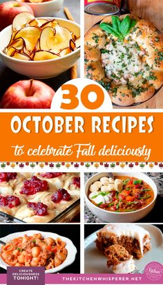 30 Recipes to Celebrate Fall Deliciously! A collection of Autumn-inspired recipes to welcome Fall deliciously. From soups and chili, sourdough and comfort foods these 30 recipes will have you embracing pumpkin spice and everything nice! Fall Dinner Recipes, Fall Recipes, Holiday Recipes, Soup Recipes, Chicken Recipes, Pumpkin Recipes, Recipes For Two, Dishes Recipes, Appetizer Recipes