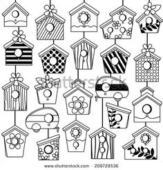 Vector Set of Cute Line Art Birdhouses. Vector Set Of Cute Line Art Birdhouses stock vector art 506918375 . Bird Drawings, Doodle Drawings, Doodle Art, Doodle Coloring, Colouring Pages, Coloring Books, House Doodle, Bujo Doodles, Drawing Tips