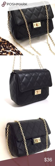 "Quilted Black Shoulder/ Crossbody Bag Brand new with tags. So chic and on trend! Quilted faux leather and a gleaming chain strap make a chic and versatile crossbody bag. Crafted from quality faux leather (man made materials). Features twist lock closure; 1 interior zip pocket; comes fully lined. Undetachable gold chain strap. Measures 7""W x 2.5""D x 5.5""H ; 24"" strap drop. Chain strap can be doubled up to use as shoulder bag too :) Reasonable offers welcome 😊 T-shirt & Jeans Bags Crossbody…"