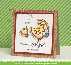 the Lawn Fawn blog: Lawn Fawn Intro: Pizza My Heart & Woodgrain Backdrops card by Yainea.