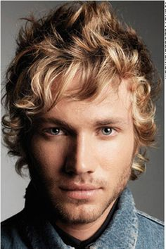 Men's:  This cut is Graduated Form. Beautiful soft blonde, or gold beige, curls. To achieve this look, blond highlights are added. Use Curvaceous Cream Shampoo and Work Hard molding paste. Schedule a trim and highlighted regrowth to maintain the look 4 weeks after.