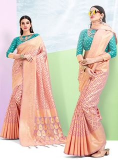 fd387b3783a9e Buy Peach Silk Festival Wear Saree 144365 with blouse online at lowest  price from vast collection of sarees at Indianclothstore.com.