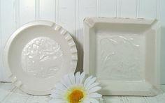 Vintage Set of 2 White Enamel Pottery AshTrays  by DivineOrders, $24.00
