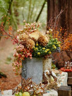 Rustic fall party in the California Redwoods. Fall Wedding Inspiration