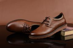 FGN Brand British Style Men's Genuine Leather Lace Up Oxfords Shoes A496150T - Brown
