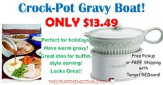 HOT BUY! Perfect for the holidays or entertaining! Crock Pot Gravy Boat is only $13.49 or less! Free store pickup or get free shipping with Target REDcard!  Click the link below to get all of the details ► http://www.thecouponingcouple.com/crock-pot-gravy-boat/ #Coupons #Couponing #CouponCommunity  Visit us at http://www.thecouponingcouple.com for more great posts!