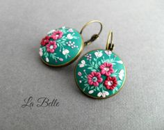 Earrings from polymer clay/Floral от LaBelleByAlbina на Etsy