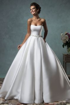 Ivory Satin Simple Ball Gown Strapless Wedding Dress with Sash