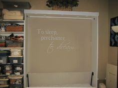 Wall bed (Murphy bed) - this couple used a DIY kit to make a portable murphy bed for her craft room. Perfect solution for our downsizing to just 2 bedrooms!