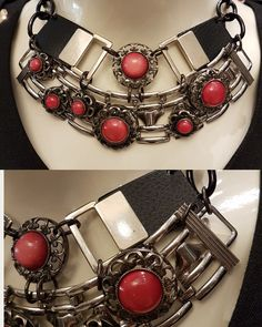 #necklace #vintagebracelet #vintagebuttons #red #uniquehandmade #leather