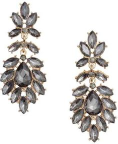 H&M - Earrings with Glass Beads - Gold-colored/black - Ladies