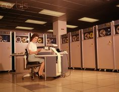 1960s Woman with Data Entry Computer B-5000 Reels Of Magnetic Tape