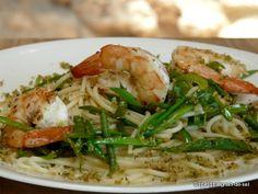 grain de sel - salzkorn: Spaghetti mit Garnelen und Thymianbröseln
