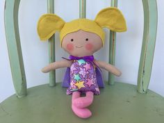 A personal favorite from my Etsy shop https://www.etsy.com/listing/477321212/little-girl-super-hero-doll-pink-and