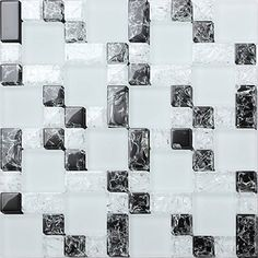 30x30cm Black & White Crackled+Frosted Modular Mix Mosaic Tiles Sheet (MT0076)