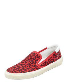 Saint Laurent Leopard Canvas Slip-On Sneaker, Red - Neiman Marcus