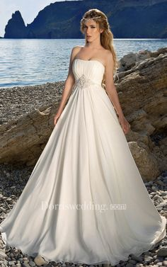 Cheap gown supplier, Buy Quality gown and robe sets directly from China gown corset Suppliers: Simple 2016 Bohemian Strapless Empire Beach Wedding Dress China White Boho Bride Bridal Gown Beach Wedding Bridesmaid Dresses, Wedding Dress Chiffon, Cheap Wedding Dress, Designer Wedding Dresses, Bridal Dresses Online, Bridal Gowns, Wedding Gowns, Unconventional Wedding Dress, Affordable Wedding Dresses