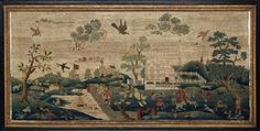 The most expensive sampler ever sold is View of Boston Common by Hannah Otis (1732-1801), stitched around 1750. It's a huge piece, meant for display over a chimney mantelpiece, embroidered in wool and silk on linen canvas. It was purchased by the Museum of Fine Arts, Boston at Sotheby's in 1996 for a record