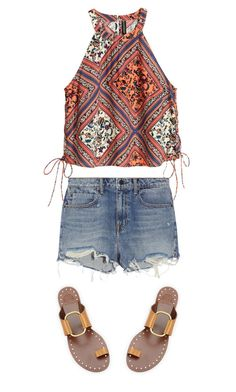 """""""Gorgeous #1"""" by ella178 ❤ liked on Polyvore featuring Alexander Wang, Tory Burch, printedtop and lacetop"""