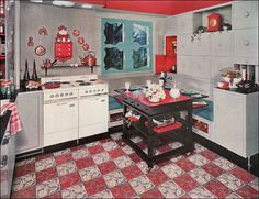 1953 Armstrong Kitchen with Versatile Island Source: 1953 Better Homes & Gardens inside of cubby cupboards is red storage under bench seating nice window shape 50s Diner Kitchen, Vintage Kitchen, Retro Kitchens, 1950s Decor, Vintage Decor, Retro Vintage, 1950s Interior, Vintage Housewife, Vintage Interiors