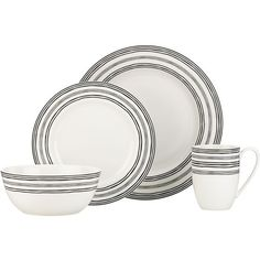 Lenox® Bistro Place 4-Piece Place Setting (77 CAD) ❤ liked on Polyvore featuring home, kitchen & dining, dinnerware, porcelain dinner plates, lenox dinner plates, white porcelain bowl, white dinner plates and white porcelain dinnerware