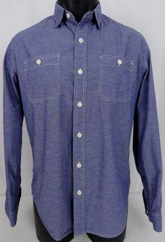 Stapleford Workwear Mens M Indigo Shirt Chambray Duo Pockets LS Button Front EUC #Stapleford #ButtonFront